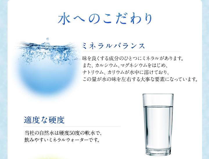 水へのこだわり 味を良くする成分のひとつにミネラルがあります。また、カルシウム、マグネシウムをはじめ、ナトリウム、カリウムが水中に溶けており、この量が水の味を左右する大事な要素になっています。