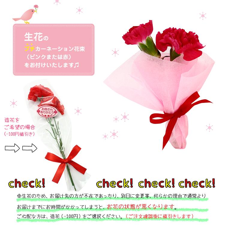 生花プチカーネーション花束と米粉バウムクーヘン(カット)セット。【105】