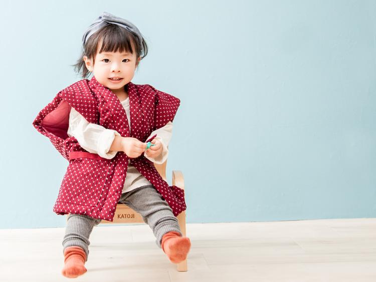 子供用 久留米織袖なしはんてん