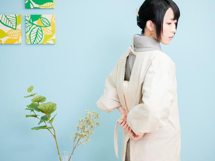久留米織で制作した日本製の着物用割烹着