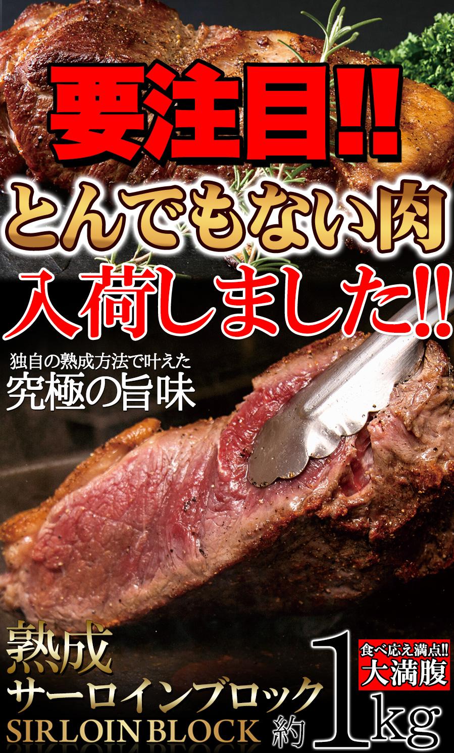 ステーキに☆ローストビーフに☆BBQに最適なお肉のかたまり!!熟成サーロインブロック1kg<冷凍商品> 熟成肉 取り寄せ 個別送料別 メーカー直送品 代引不可