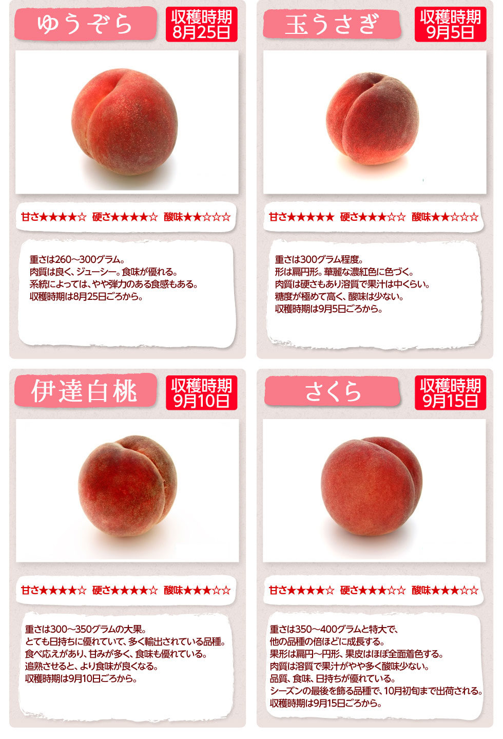 当店取扱いの桃の種類について