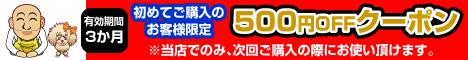 初めてのお客様購入限定500円OFFクーポン