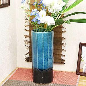青ガラス面取り花瓶