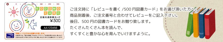 レビューご記入で500円図書プレゼント!