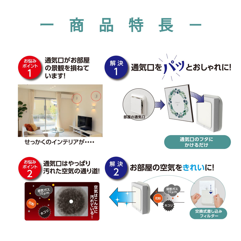 通気口インテリアカバー・商品特長・通気口がお部屋の景観を損ねています・通気口のフタにかけるだけで、通気口をパッとおしゃれに!・通気口は汚れた空気の通り道・お部屋の空気をきれいに!
