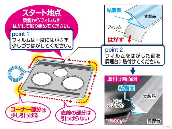 天板の奥側からフィルムを少しずつはがし、はがした面を調理台貼りつけてください。コーナー部分は少し引っぱってください。直線の部分は引っぱらないでください。フレームカバーNEW フリーサイズ