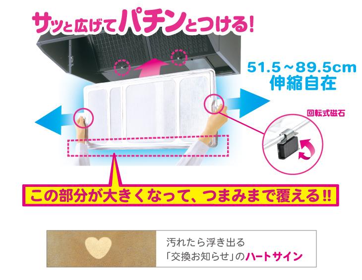 ワンタッチレンジフードカバーでか 1枚で全面カバー 回転式磁石 交換お知らせのハートサイン