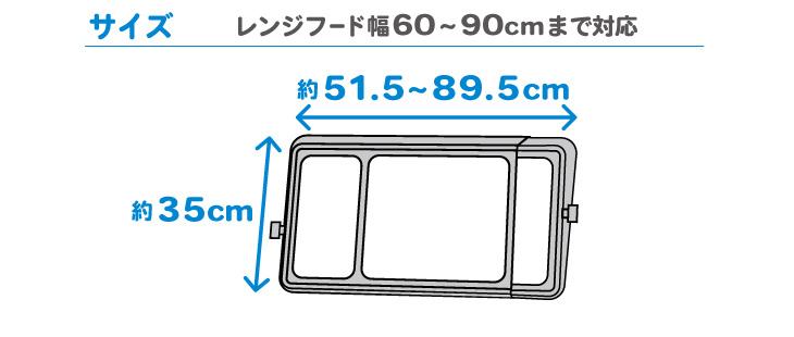 ワンタッチレンジフードカバーでか  サイズ レンジフード幅60~90cmまで対応