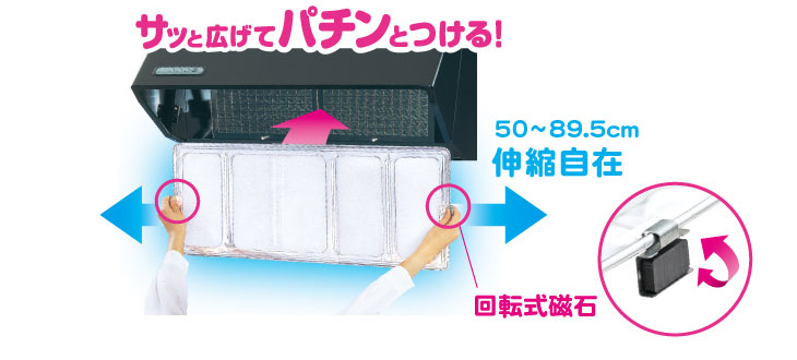 ワンタッチレンジフードカバー サッと広げてパチンとつける 伸縮自在 回転式磁石