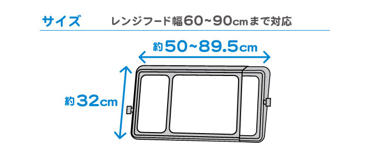 ワンタッチレンジフードカバー サイズ レンジフード幅60~90cmまで対応