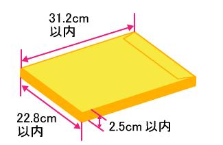 大きさ:角形A4サイズ(31.2cm以内×22.8cm以内)、厚さ:2.5cm以内、重さ:1Kg以内