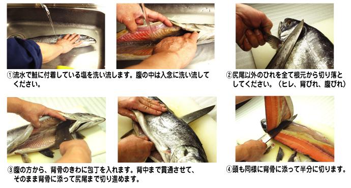 鮭山漬けの切り方2