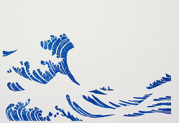 波の動きを出す濃い藍色を摺る