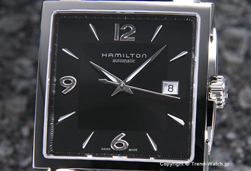 【HAMILTON】ハミルトン Jazz Master Square Auto(ジャズマスター スクエアオート) SS ブラック/ブラックレザー H32415735
