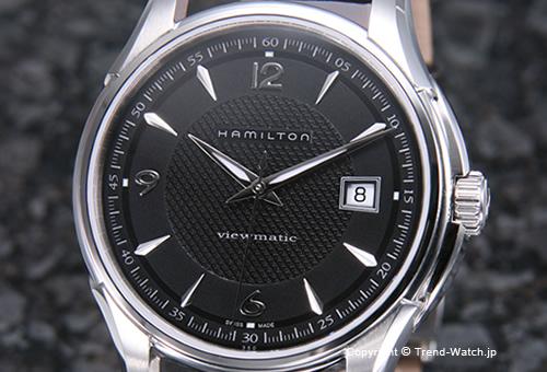 【HAMILTON】ハミルトン Jazzmaster Viewmatic(ジャズマスター ビューマチック) SS ブラック/ダークブラウンレザーストラップ H32515535