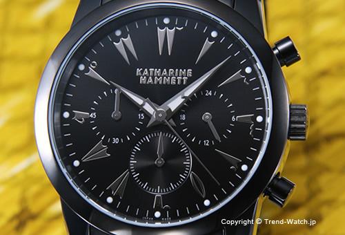【KATHARINE HAMNETT】 キャサリン ハムネット  腕時計 Chronograph V(クロノグラフ 5) SS(オールブラック)/ブラック KH23A5-B39