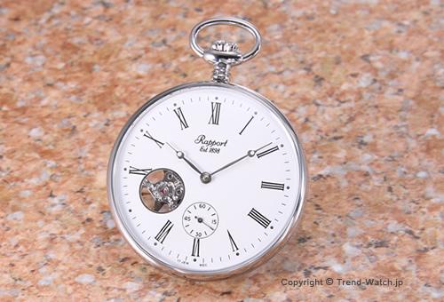【RAPPORT】 ラポート 懐中時計(ポケットウォッチ) メカニカル SS/ホワイト(ローマン) PW87