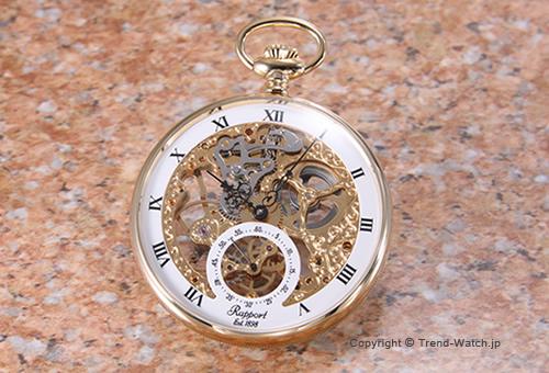 【RAPPORT】 ラポート 懐中時計(ポケットウォッチ) メカニカル GP/ゴールドスケルトン PW88