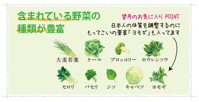 含まれている野菜の種類が豊富
