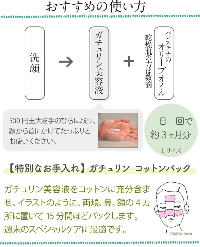 おすすめの使い方 洗顔→ガチュリン美容液→オリーブオイル  500円玉大を手のひらに取り、顔から首にかけてたっぷりとお使いください。一日一回で約3ヶ月分 Lサイズ 144ml  【特別なお手入れ】 ガチュリン コットンパック  ガチュリン美容液をコットンに充分含ませ、イラストのように、両頬、鼻、額の4カ所に置いて15分間ほどパックします。 週末のスペシャルケアに最適です。