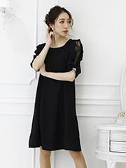 袖シフォンレース ワンピースドレス