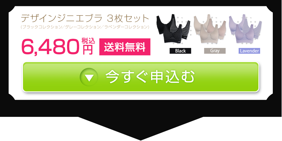 デザインジニエブラ 3枚セット(ブラックコレクション/グレーコレクション/ラベンダーコレクション) 6480円(税込) 送料無料