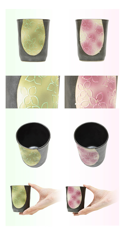 小花柄が可愛らしい有田焼の夫婦湯のみです