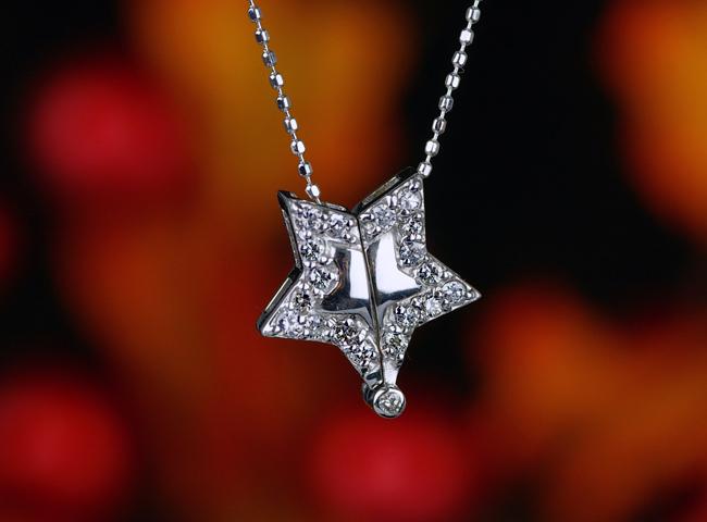 0.25ctダイヤモンド星形ペンダント【K18Wg】