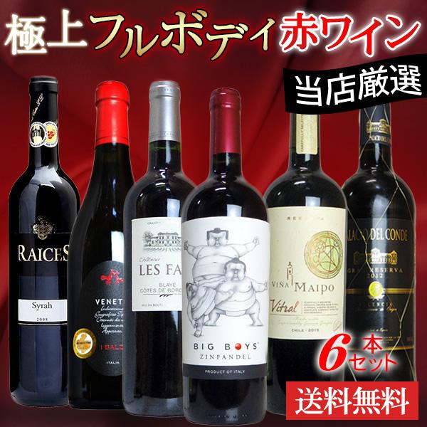 ワインセット 愛あるしんちゃん厳選!驚異のフルボディ極上赤ワイン6本セット (送料無料ワインセット)