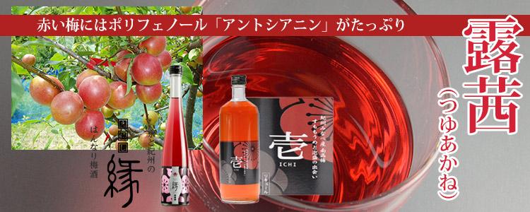 赤い梅にはポリフェノール「アントシアニン」がたっぷり【露茜(つゆあかね)】使用、日本酒梅酒「縁(えにし)」、みなべの梅家がつくる「壱(いち)」
