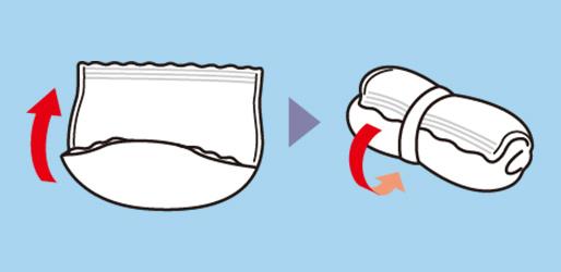 後ろの処理テープをつまんではがし、しっかりと止めて捨ててください