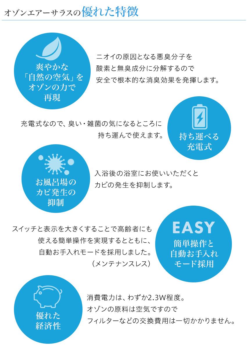 自然の空気を再現。充電式で持ち運べる。お風呂場のカビ発生の抑制。簡単操作と自動お手入れモード。優れた経済性。