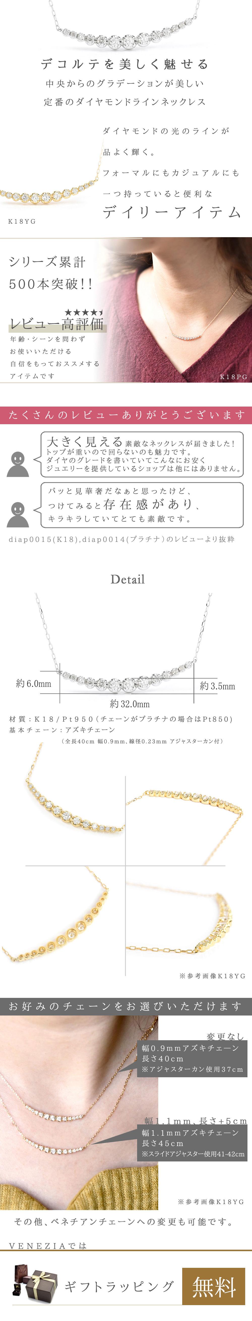 K18ダイヤモンドラインネックレス