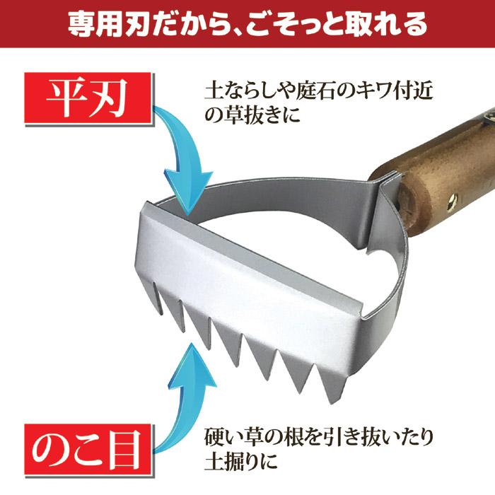専用刃だから、ごそっと取れる。平刃は、土ならしや庭石のキワ付近の草抜きに。のこ目刃は、硬い草の根を引いたり土掘りに。ごそっと除草くわ。