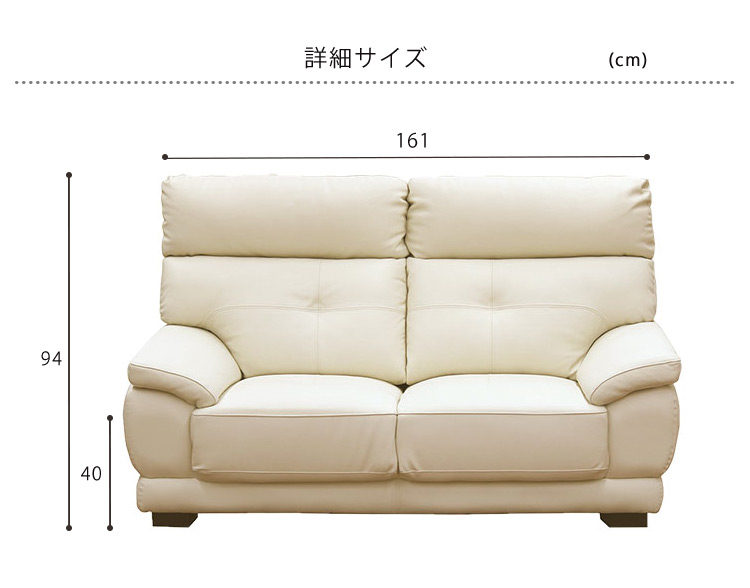 2Pソファ カラー2色 牛革張り 幅161 ハイバック 2人掛けソファ sofa ソファ リビング 家具 シンプル デザイン FJ-8700