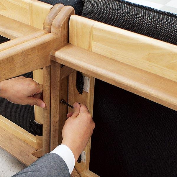 ダイニングチェア 3Pソファ 洗えるカバー 布張り 連結可能 木製