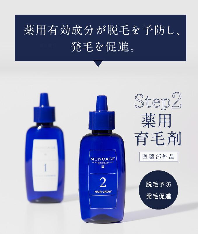 薬用有効成分が脱毛を予防し、発毛を促進。ステップ2 薬用育毛剤