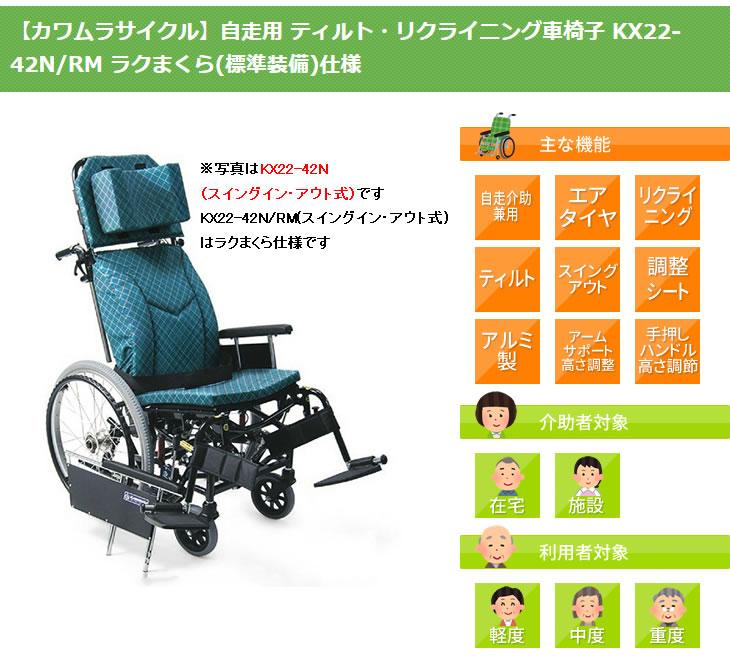 カワムラサイクル自走用車椅子KX22-42N/RMの画像