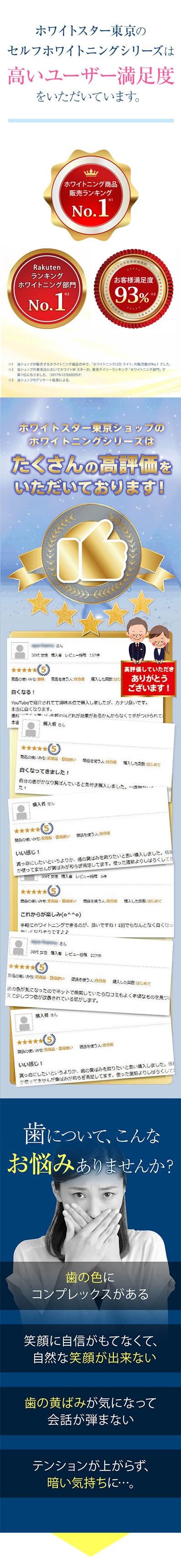 ホワイトスタートーキョーのセルフホワイトニングシリーズは高いユーザー満足度をいただいています。