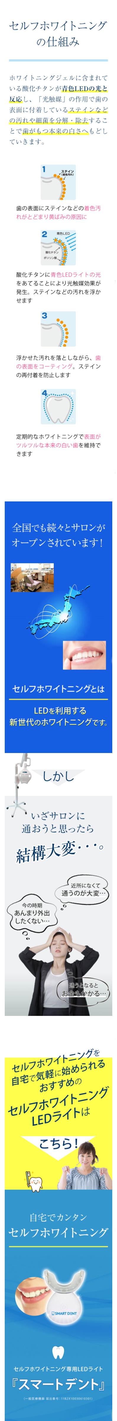 セルフホワイトニングの仕組み。ホワイトニングジェルに含まれている酸化チタンが青色LEDの光と反応し、「光触媒」の作用で歯の表面に付着しているステインなどの汚れや細菌を分解・除去することで歯がもつ本来の白さへ戻していきます。