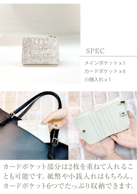 SPEC。カードポケット部分は2枚を重ねていれることも可能です。