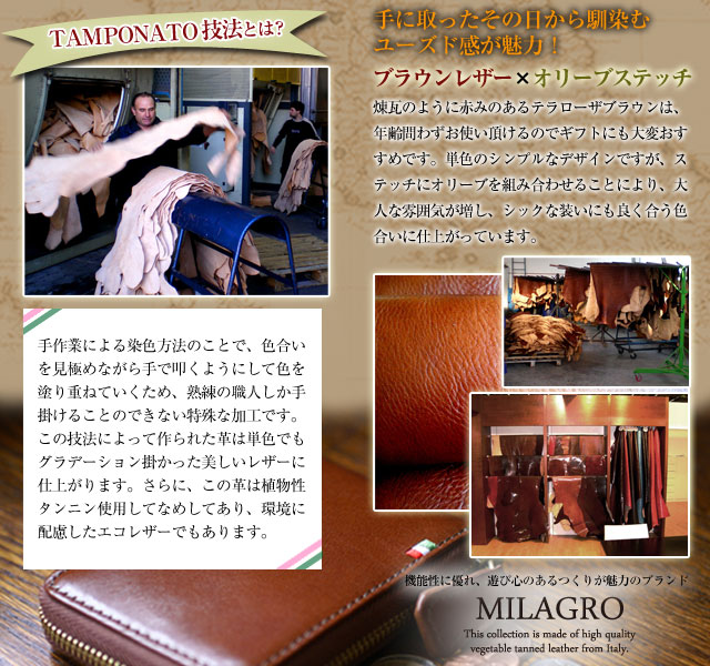 Milagro イタリアンレザー 小銭入れ付き マネークリップ CA-S-2166