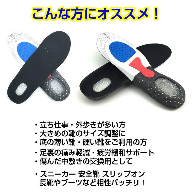 インソール【2足セット】 中敷き 衝撃吸収 スニーカーインソール 安全靴 ウォーキング メンズ レディース 中敷 インソールでサイズ調整