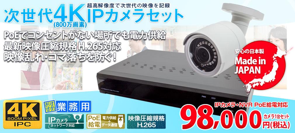 日本初【WTW製】4K 800万画素 IPC 赤外線 防犯カメラ 1台 と 録画機 のフルセット 4chDVR 4K対応  塚本無線
