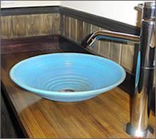 信楽焼き洗面ボウル設置例 陶器手洗い鉢 しがらき手洗い器