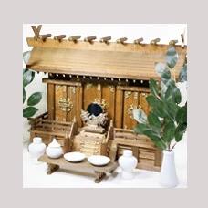 モダン神棚 月夜見の宮 家具調 通し屋根三社 神具 神棚セット 胡桃風