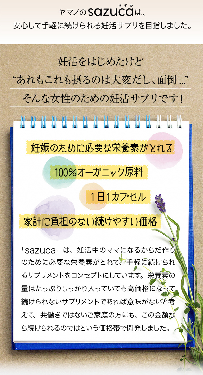 ヤマノのsazucaは安心して手軽に続けられるサプリを目指しました。
