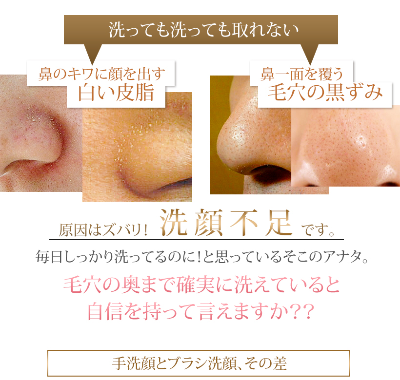 洗顔ブラシ フェイスブラシ 小鼻ブラシ 毛穴の黒ずみ 角栓 毛穴の汚れ