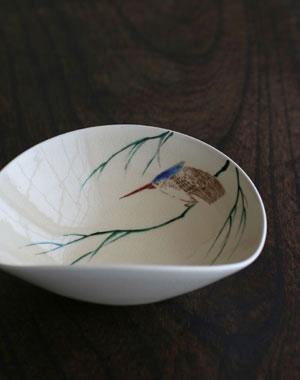 京焼・色絵沓型かわせみ紋鉢